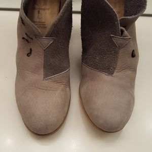 Grotesque Shoes - GROTESQUE GRAY LEATHER SUEDE BACK ZIP BOOTIES